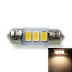 31mm (sv8.5-8) 1.5W 3x5730smd 90-120lm 3000-3500k varmvitt ljus ledde glödlampa för bil registreringsskylt lampa (ac12-16v)