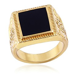 China Wind Drip Pattern Mens Square Rings(Hualuo Jewelry)