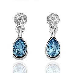 Fashion Drip-Drop Blue Platinum-Plated Drop Earrings(Blue)(1Pair)