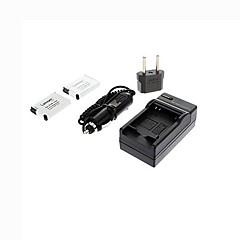 ismartdigi-samsung SLB-10A x2 (850mAh, 3.7v) batterie de l'appareil + bouchon + ue chargeur de voiture pour Samsung ES55 ES60 PL50 PL60 l110