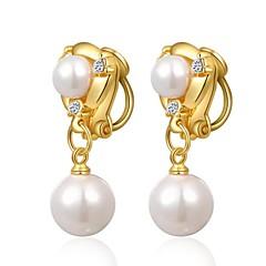 unikke 18k gult guld belagt smykker brug skinner østrig krystal simuleret perle waterdrop klip på øreringe