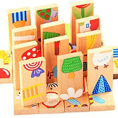 28pcs tre dyr domino blokker murstein klassiske tidlige pedagogiske leker (tilfeldig farge)