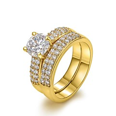 Classic 18K Yellow/White Gold Plated Four Prongs 1.5Ct CZ Wedding Simulated Diamond Rings For Women