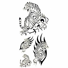 1pc Black Tiger Waterproof Tattoo Sample Mold Temporary Tattoos Sticker for Body Art(18.5cm*8.5cm)