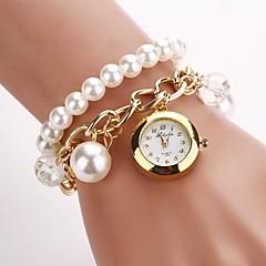 Damskie Modny Zegarek na bransoletce Kwarcowy Stop Pasmo Perły Biały Złoty