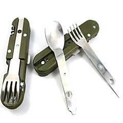 Outdoor 8in1 Stainless  Multifunction Tableware Knife Fork Spoon Camping Tool