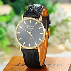 Women's Fashion Style Geneva Leather Band Quartz Analog Wrist Watch (Assorted Colors)
