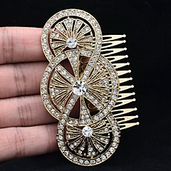 Cute Golden Round Flower Hair Comb Headband for Women Party Jewelry with Clear Rhinestone
