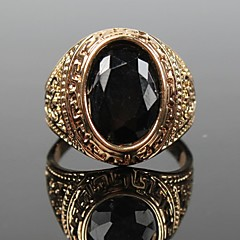 Z&X®  European Style Vintage Oval Black Stone Men's Statement Ring Jewelry