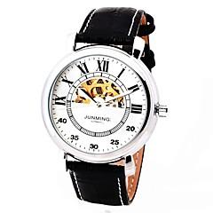 bracelet en cuir de style demi-cercle mécanique montre-bracelet automatique des hommes