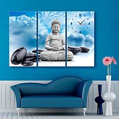 e-FOYER Bouddha et l'horloge de pierres dans 3pcs toile