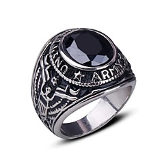 Men's Europe Personality Punk Darkstone Titanium Steel Ring