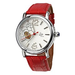 Women's Flower Style Silver Dial PU Analog Auto-Mechanical Wrist Watch (Assorted Colors)