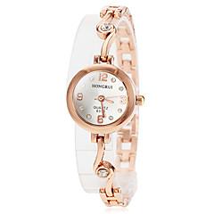 Women's Round Diamante Dial Alloy Band Quartz Wrist Watch (Assorted Colors)