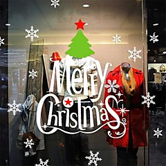 Christmas Decoration Cartoon Merry Christmas Letters PVC Window Stickers