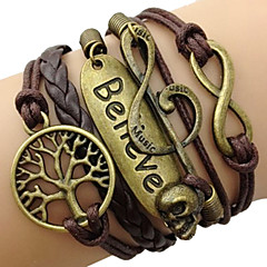 Women's Wrap Bracelet Charm Bracelets Inspirational Plaited Vintage Multilayer Leather Love Infinity Tree of Life Jewelry ForDaily Casual Sports