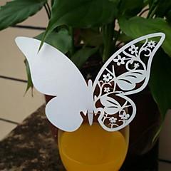 12st laser gesneden vlinder kop kaarten naam plaats kaart voor wijn glas bruiloft kerst baby shower feest decoraties