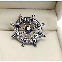European Rudder Alloy and Rhinetone Brooches (Gold,Silver,Blue)(1pc)