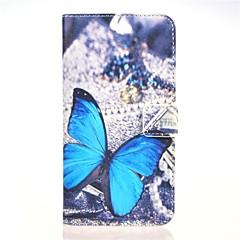 niebieski wzór pu butterly skórzane etui z podstawką i karty do Huawei Ascend gniazdo G7