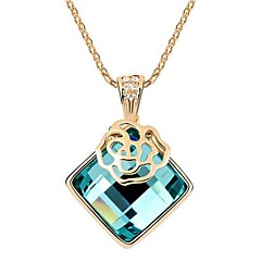 Women's Gold Plated Rose Square Fine Pendant Necklaces