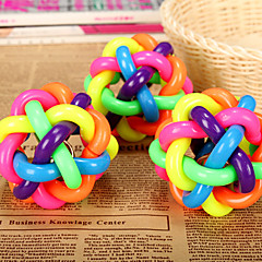Rubber Multicolor Winding Chew Ball with Bell for Pets