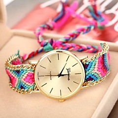 Women's Golden Case Chain Fabric Band Quartz Analog Bracelet Watch (Assorted Colors)