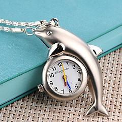 Delphin geformt Fall Legierungsquarz Halskette Uhr Frauen
