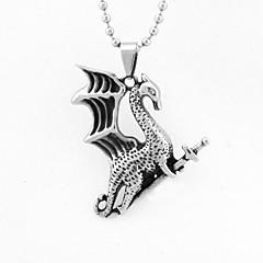 Punk Vintage Titanium Steel Dragon  Pendant Men's Necklace