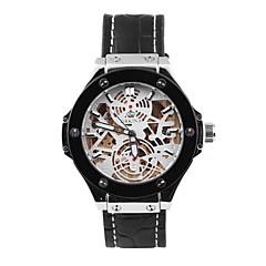 la roue ciel de raclage des hommes évider la conception série en cuir montre-bracelet mécanique automatique (couleurs assorties)