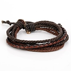 Adjustable Men's Leather Bracelet Very Cool Coffee Rope Coffee Leather (1 Piece)