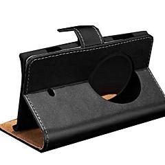 estojo de couro genuíno com slots de cartão para nokia lumia 1020