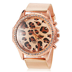 Women's Round Diamante Case Leopard Pattern Dial Alloy Band Quartz Wrist Watch Cool Watches Unique Watches