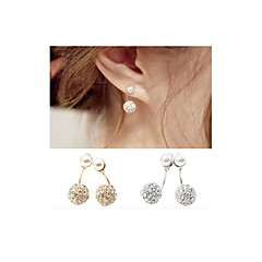 After Drilling and Diamond Pearl with Double Ball Steel Stud Earrings