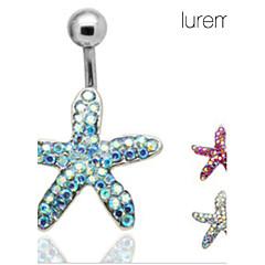 lureme®silver guldpläterade rostfritt stål strass sjöstjärna naveln / öronhåltagning (slumpvis färg)