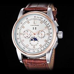 forsining Männer automatische mechanische sechs Zeiger Diamantdekor Rotgold Leder-Band-Armbanduhr (farbig sortiert)