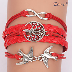 Eruner®Multilayer Red Bird Alloy Charms Handmade Leather Bracelets