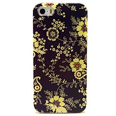 Black Flowers Pattern PU Leather Full Body Case with Card Slot and Stand for iPhone 5/5S