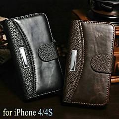 gal hest + lichee mønster lommebok stå pu lærveske for iPhone 4 / 4S (assorterte farger)