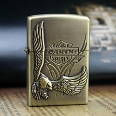 Earth Gold Eagle Pattern Metal Relief Oil Lighter