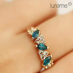 Lureme®Vintage Alloy Enamel Crystals Ring