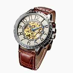 Herren Skeleton Zifferblatt Lederband automatische mechanische wasserdichte Uhr (farbig sortiert)