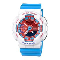 Masculino Relógio Esportivo Quartz LCD / Calendário / Cronógrafo / Dois Fusos Horários / alarme Borracha BandaPreta / Branco / Azul /