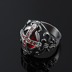 Cool Inlay Zircon Ruby Cross Stainless Steel Men's Ring Jewelry