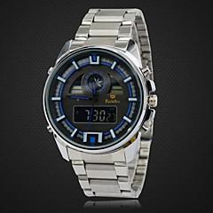 relógio à prova d'água 30m multifuncional relógio banda lcd full aço dupla movt pulso dos homens analógico-digital (cores sortidas)