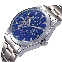 Men's Skeleton Style Silver Steel Auto Mechanical Wrist Watch(Assorted Colors)