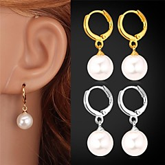 U7®Pearl Drop Earrings 18K Gold Platinum Plated White Pearl Water Drop for Women