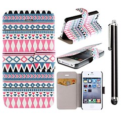 Luminous Flowers Pattern PU Leather Full Body Case with Stand and A Stylus Touch Pen for iPhone 4/4S
