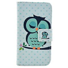 Cute Owl on The Tree Pattern PU Leather Full Body Case for iPhone 4/4S