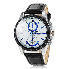 Men's Round Dial PU Leather Band Quartz Wrist Watch (Assorted Colors)