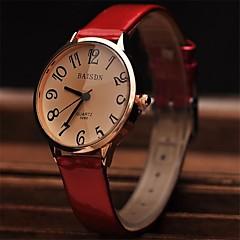 Damen Kleideruhr Modeuhr Armbanduhr Quartz Leder Band Rot Marke